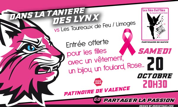 lynx hockey valence drome octobre rose